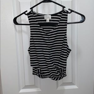 Black and White Striped Ribbed Cotton Tank